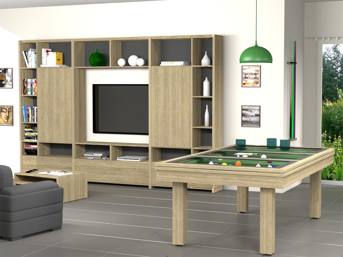 Ensemble contemporain billard table FEELING, finition chêne éclairci veiné, avec plateau table BV et meuble multimedia assorti.