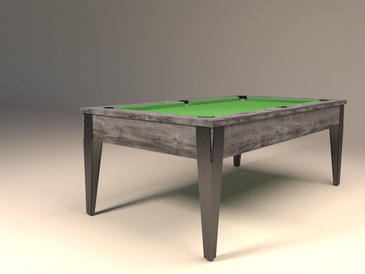 Billard style industriel FACTORY Classic, finition bois flotté et pieds acier peint noirs - Tissu vert pomme