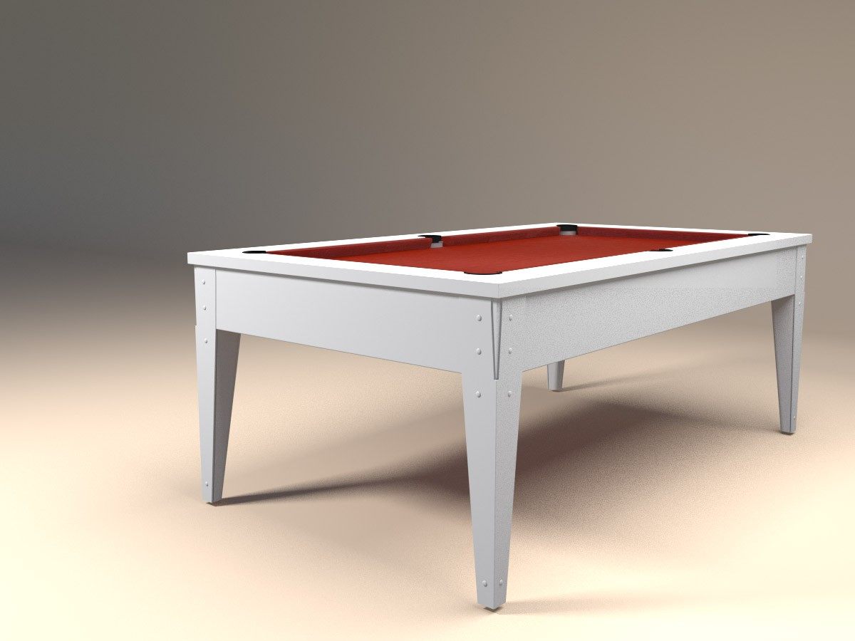 Billard design blanc avec tapis rouge FACTORY Classic. Finition blanc polaire brillant et pieds métal blancs