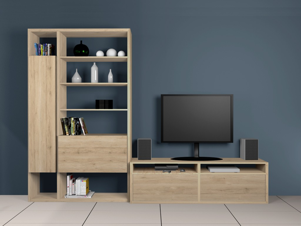 Bibliothèque 2 colonnes et banc TV avec support