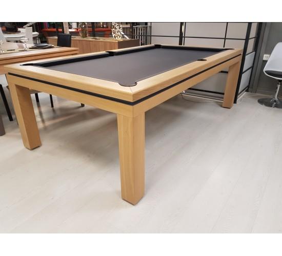 Billard table NEW TENDANCE 2.30 m chêne, tapis gris ardoise