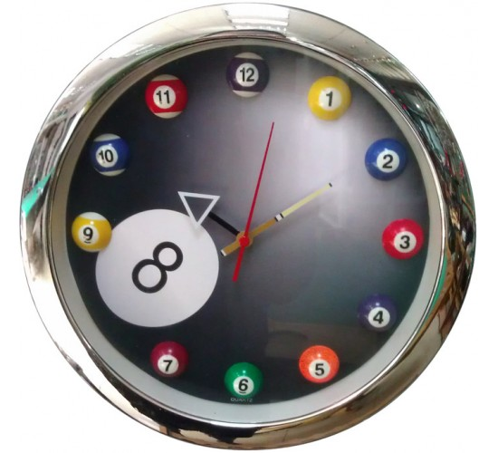 "Horloge murale ""Billards"" design contour chromé"