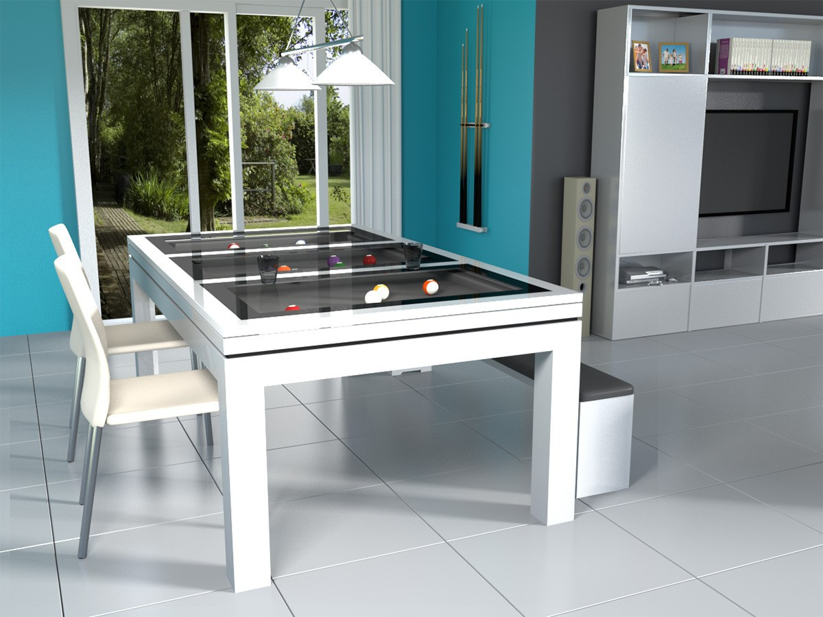 Billard moderne transformable en table NOVEA, finition blanc polaire brillant avec banc assorti. Luminaire CAZMA