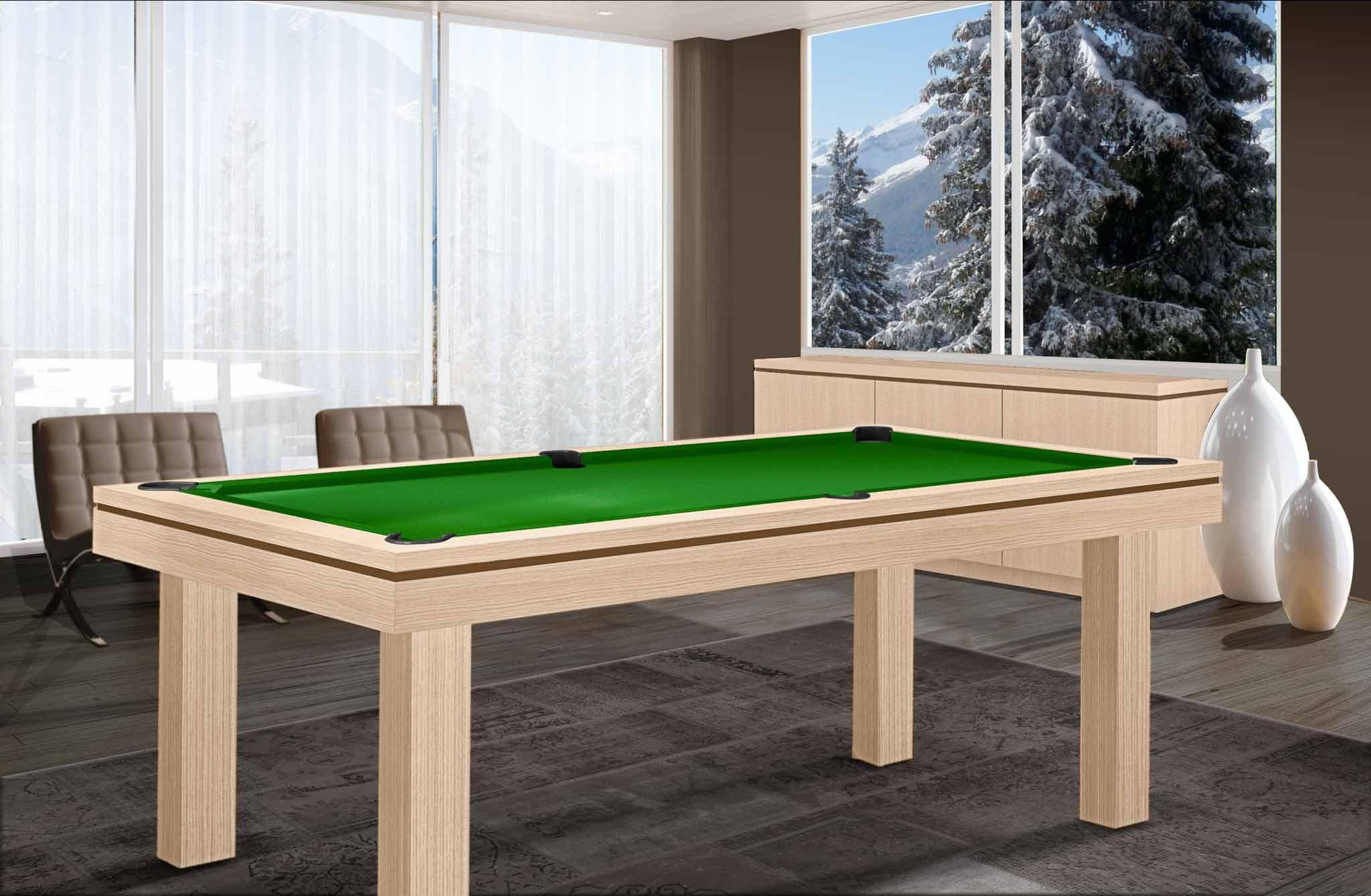 ... Billard Moderne LIVEA, Finition Chêne Alpin Blanc Avec Liseré Gris  Ardoise Et Tissu Vert Pomme