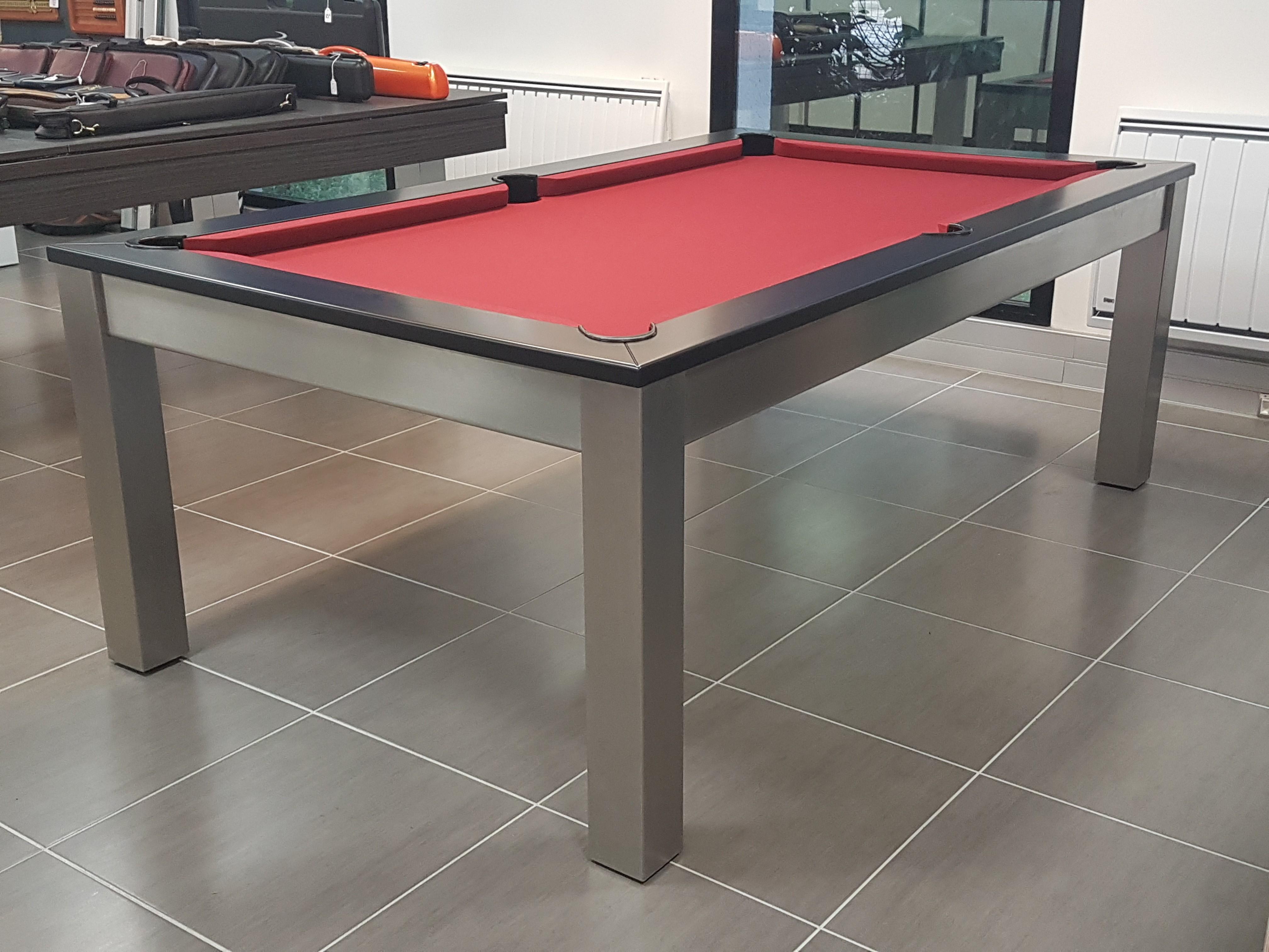 Billard table STEEL-TENDANCE avec tissu rouge