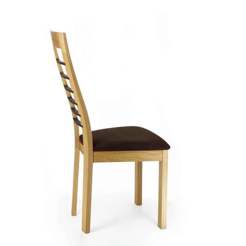 Chaise Cannelle chêne naturel avec barrettes noir - assise Carabu 72