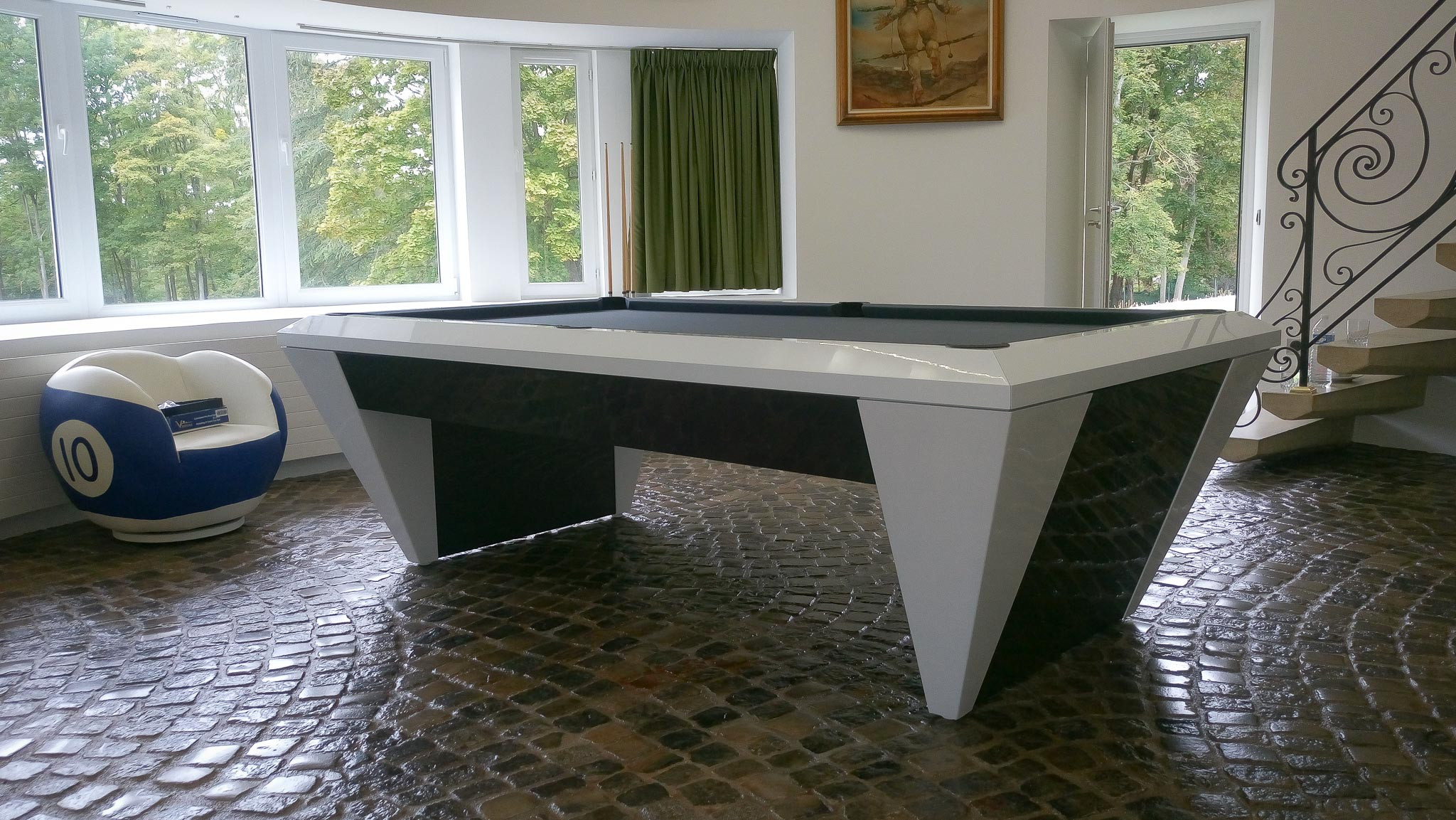 Billard design DIAMOND laqué blanc bicolore