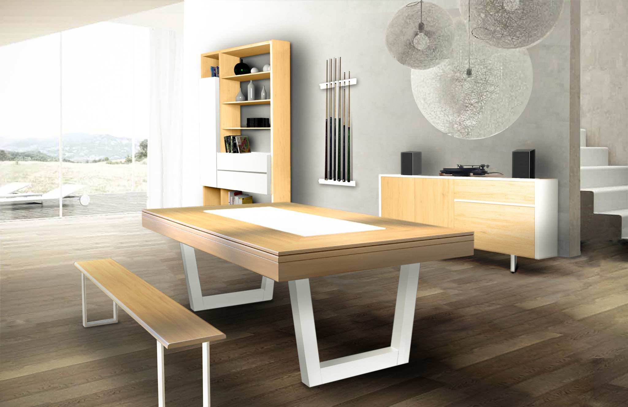 Billard HARMONY-V pieds blancs, banc, un buffet et meuble colonne assortis. Le plateau table en chêne avec decor central blanc