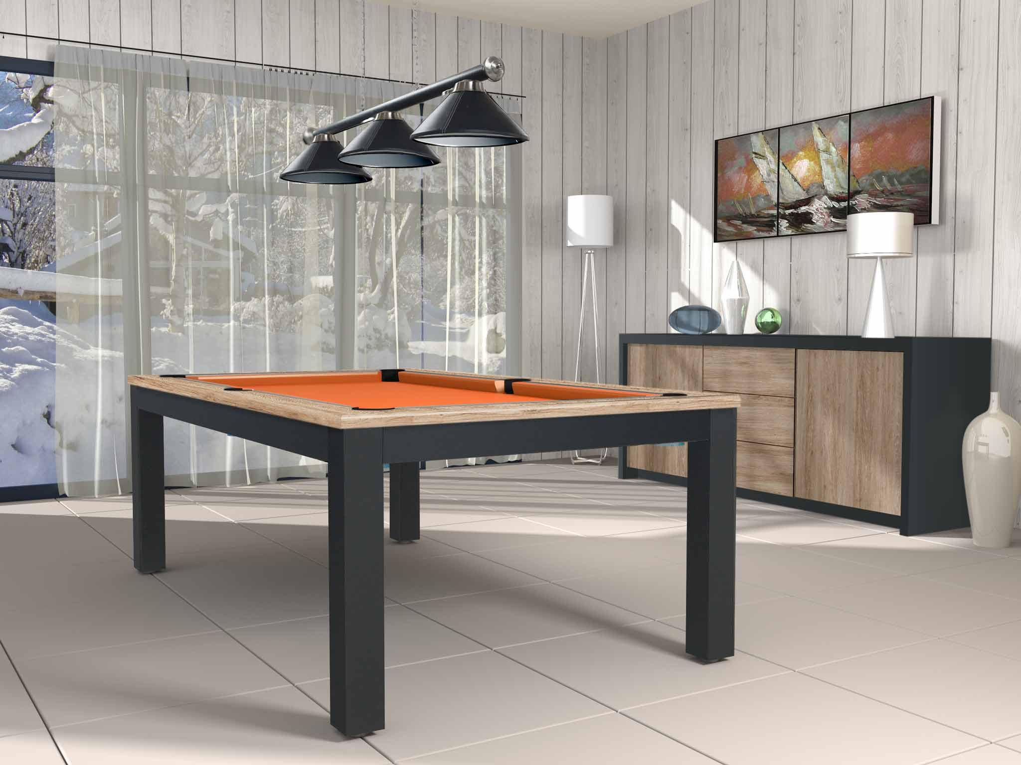 Billard TRENDY finition bicolore chêne  éclairci veiné et noir mat,  avec tissu jeu orange  américain ou pool