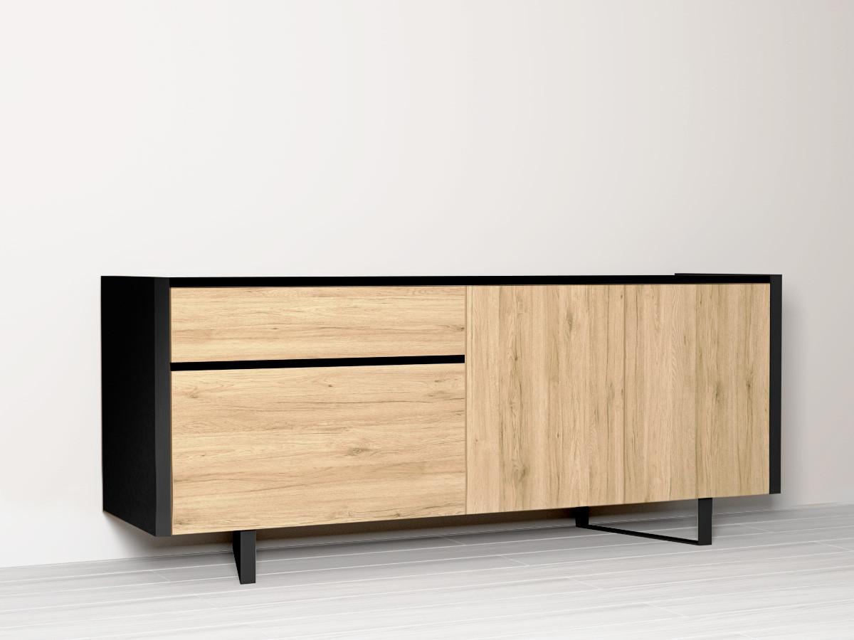 Buffet FABRIK bicolore cadre et liseret noir avec face en bois clair