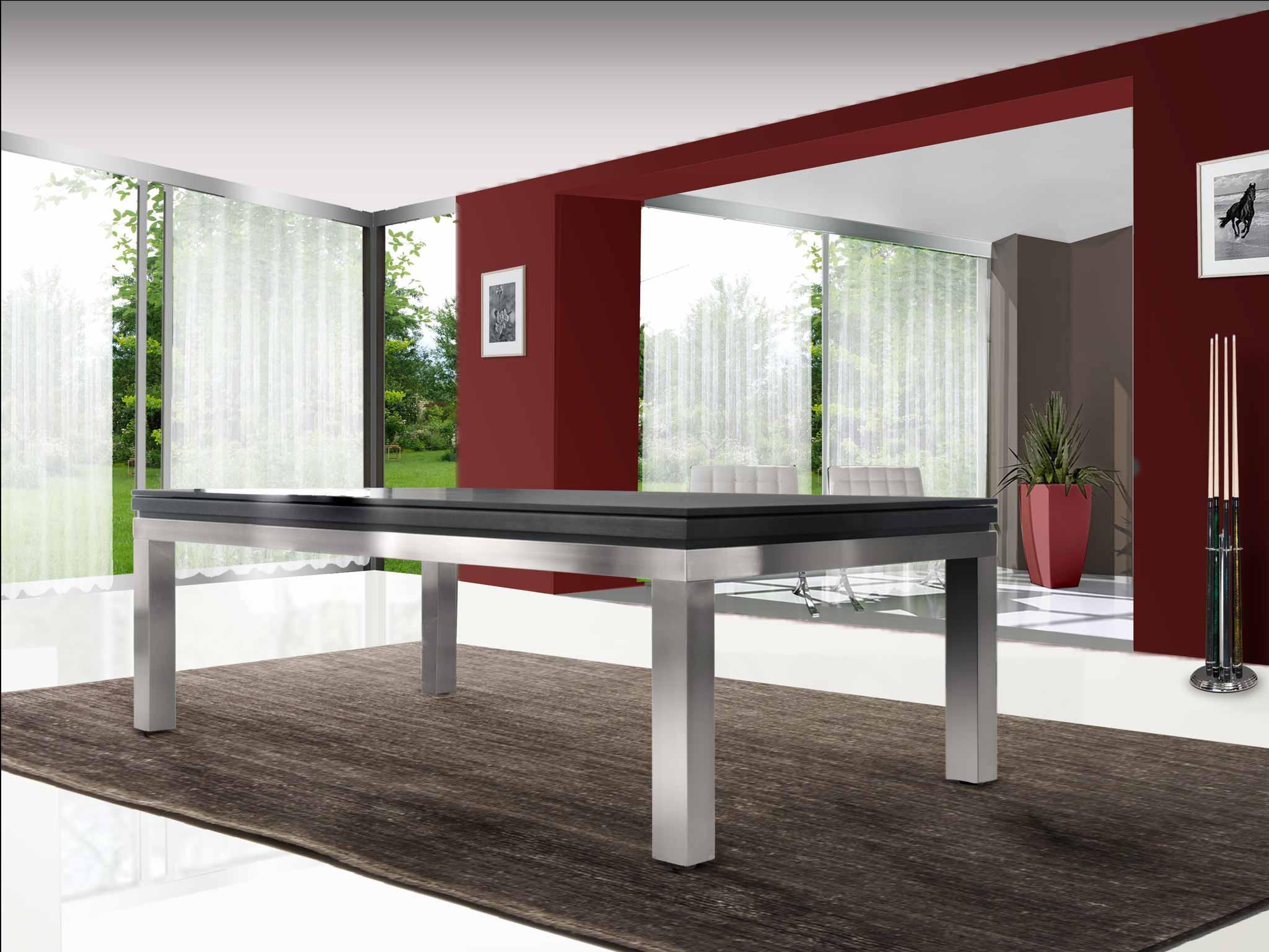 Billard NEW TENDANCE Table pieds Inox et cadre chêne anthracite - plateau ST