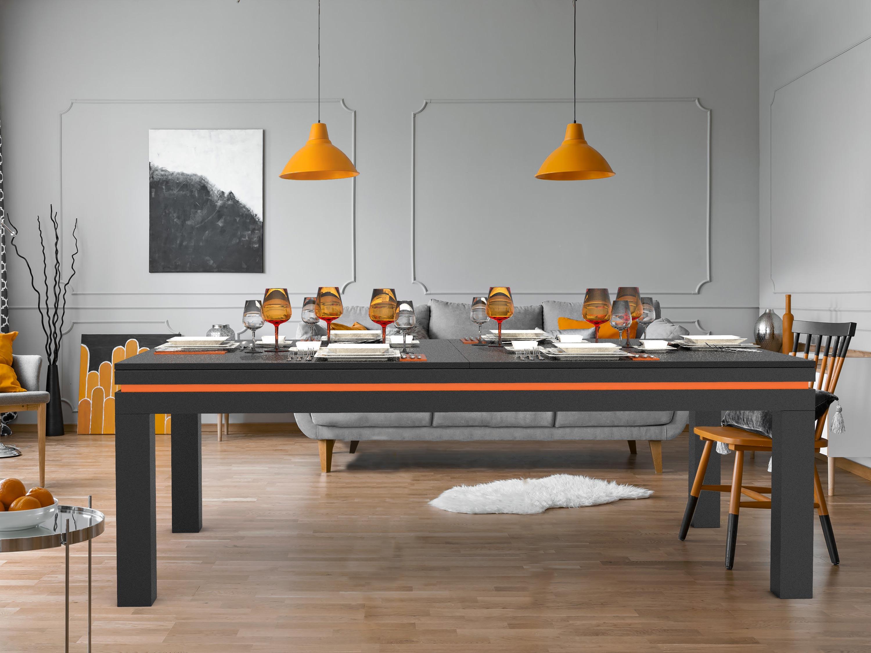 Billard NEW TENDANCE Table Bois gris graphite liseré orange - plateau ST