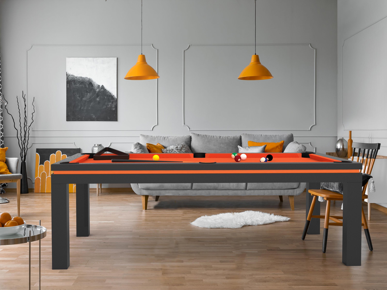 Billard NEW TENDANCE Table Bois gris graphite liseré orange - tapis orange