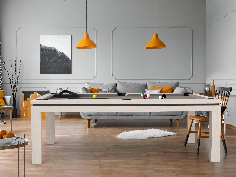 Billard NEW TENDANCE Table Bois chêne blanc liseré noir - tissu gris ardoise
