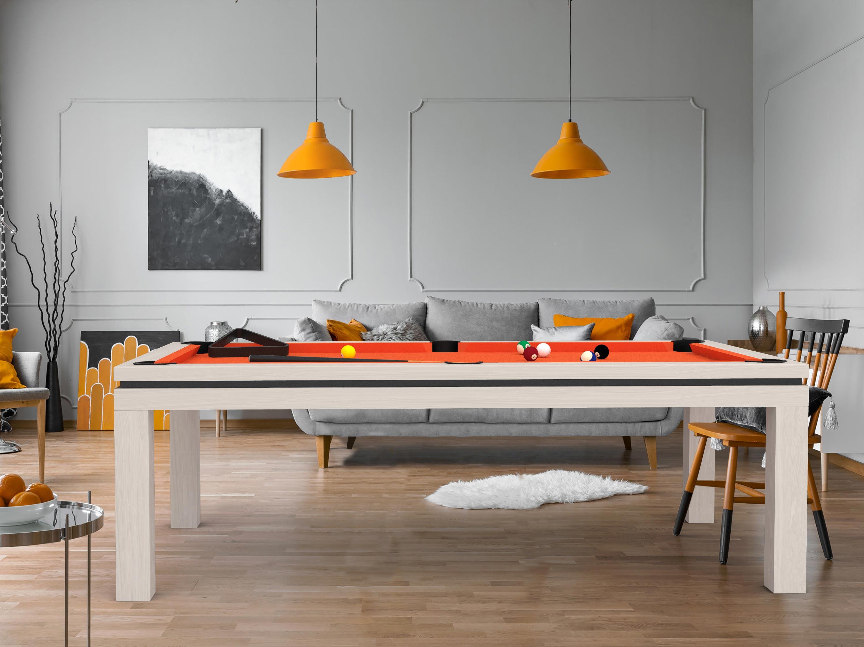 Billard NEW TENDANCE Table Bois chêne blanc liseré noir - tissu orange