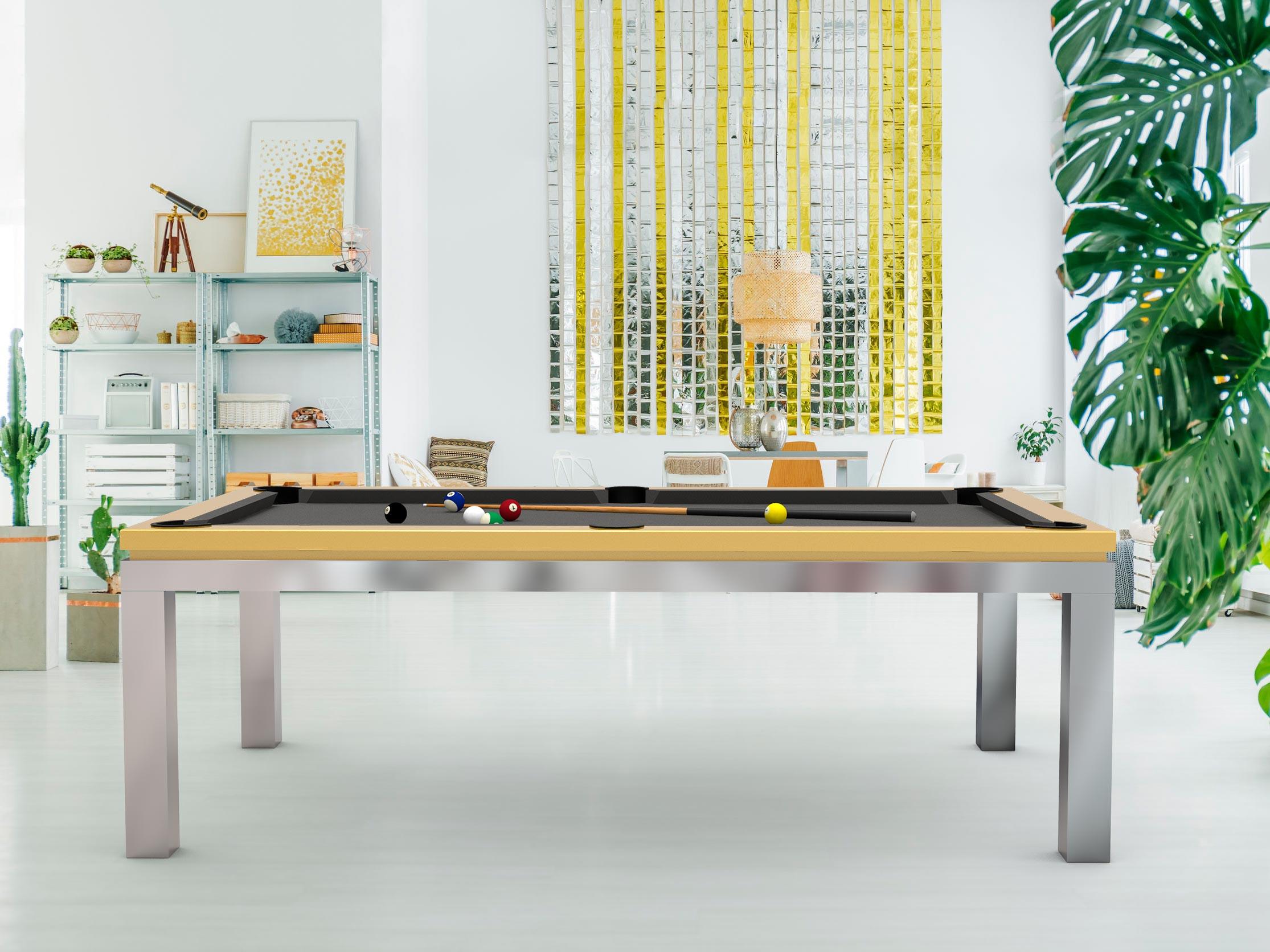 Billard NEW TENDANCE Table Inox - cadre laque nacré Pearl Gold 1036 - tapis grais ardoise