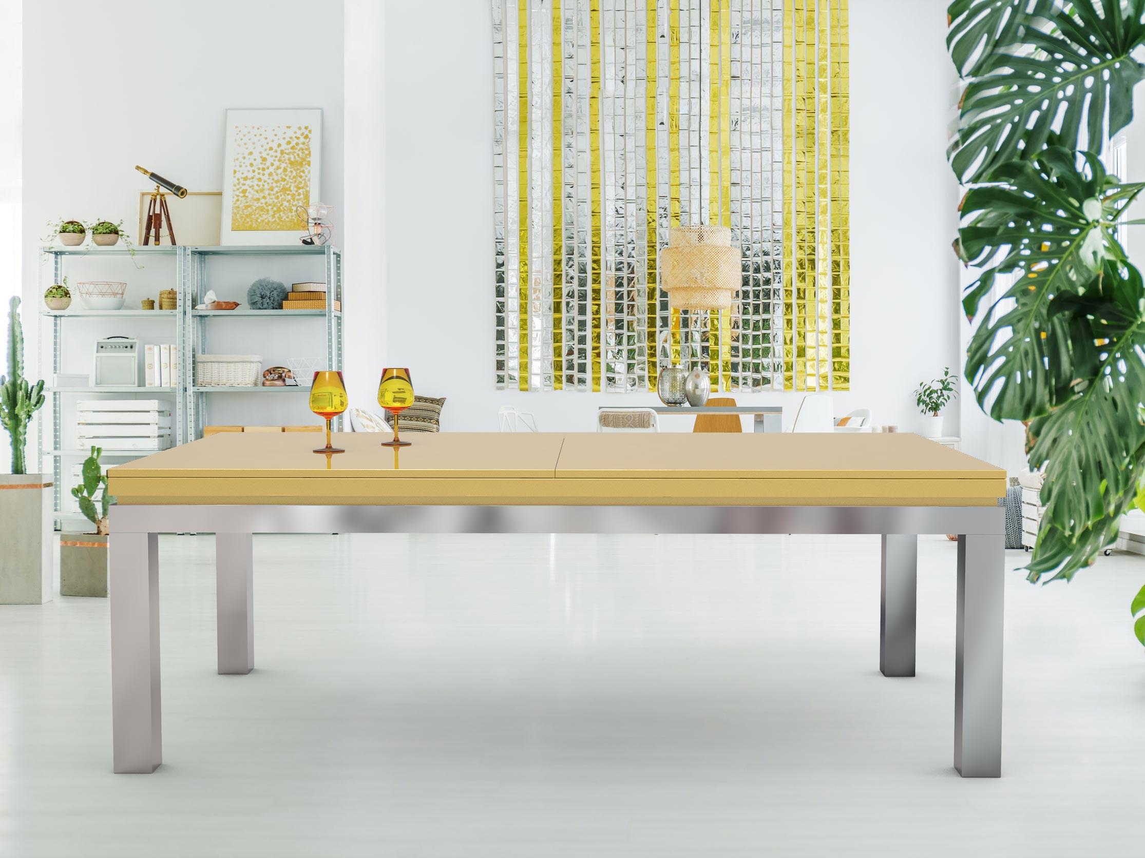 Billard NEW TENDANCE Table Inox - cadre laque nacré Pearl Gold 1036 - plateau ST