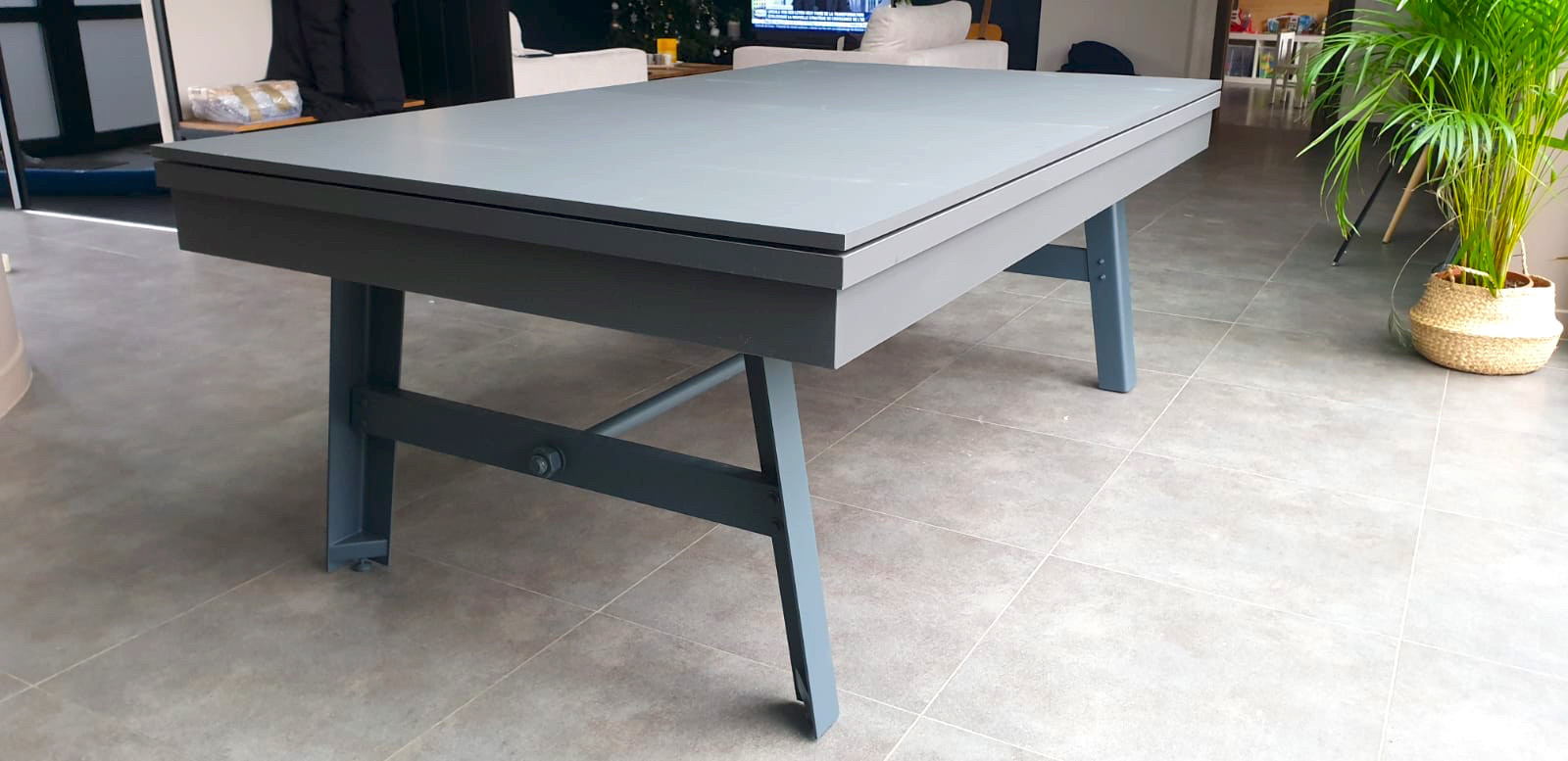 Billard table VINTAGE finition gris graphite et pied acier gris anthracite avec plateau table ST 3 parties