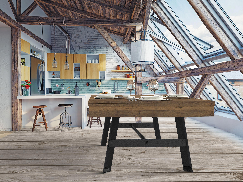 Billard table VINTAGE finition chêne vintage, pied acier noir et plateau table ST