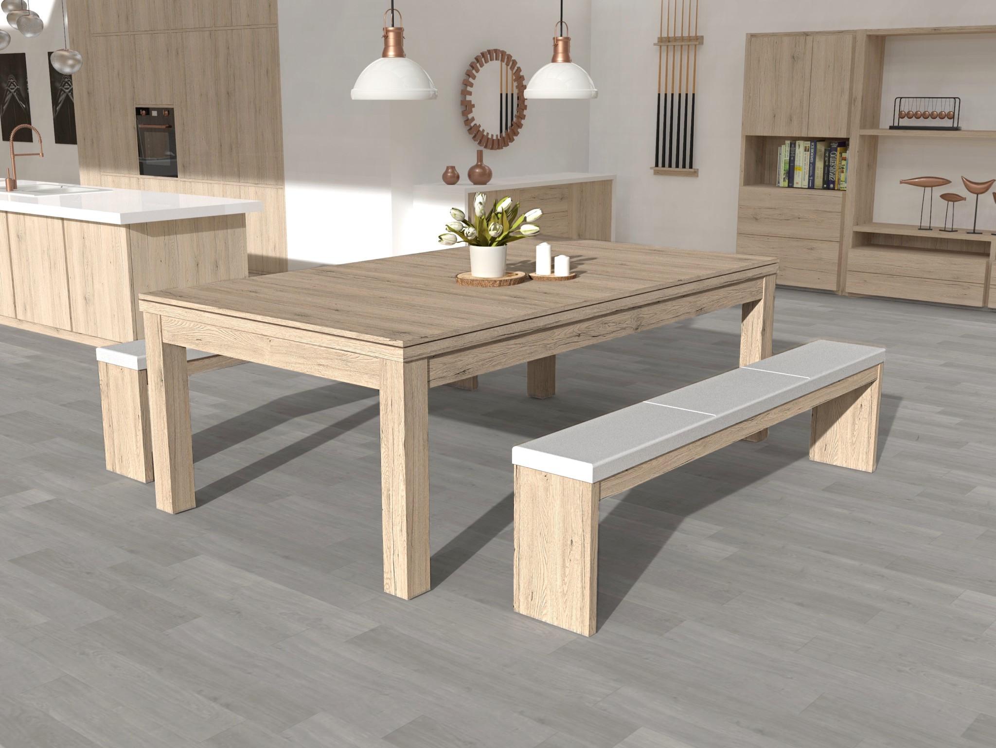 Billard TRENDY finition chêne éclairci veiné,  avec plateau table ST et  bancs NOVEA assise simili blanc