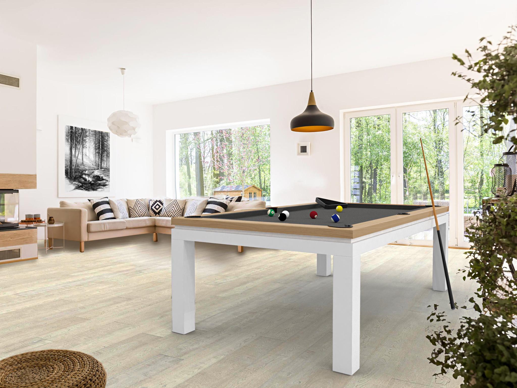 Billard NEW TENDANCE Table Bicolore chêne pieds blanc tapis gris ardoise