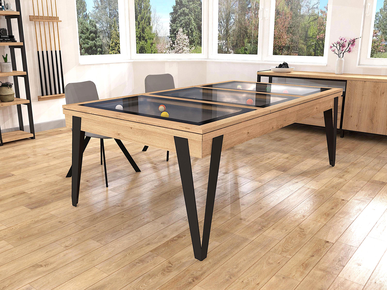 Billard PURE chêne Classique - pieds métal noirs - Plateau table BV