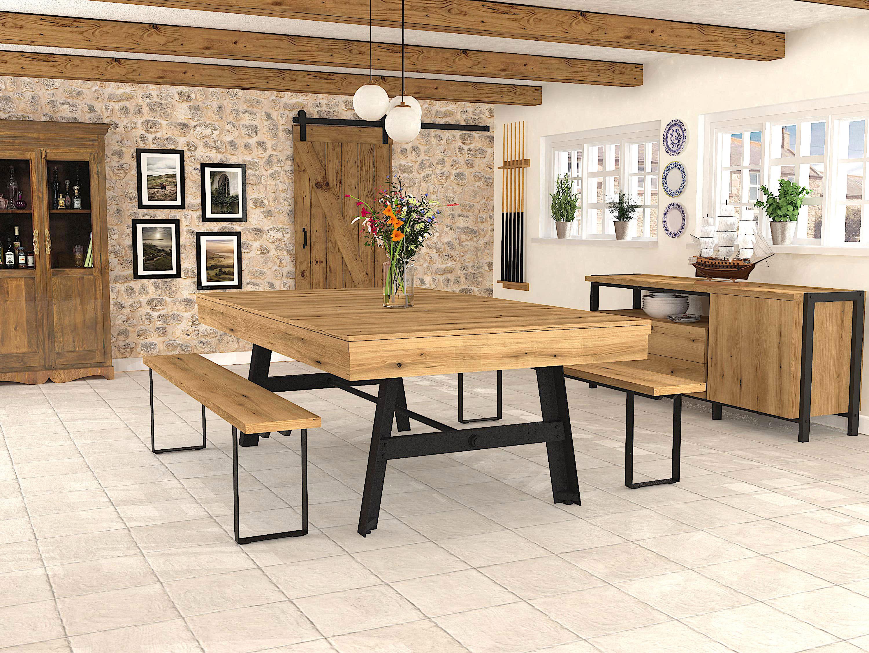 Billard table VINTAGE finition chêne coat, pied acier noir et plateau table ST - Bancs Fabrik