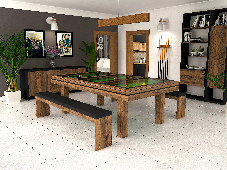 Billard LIVEA, finition chêne vintage avec liseré noir et plateau table BV