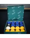 Boîte de billes de blackball jaune et bleue Aramith Premier en résine phénolique au diamètre de jeu de pool américain standard d