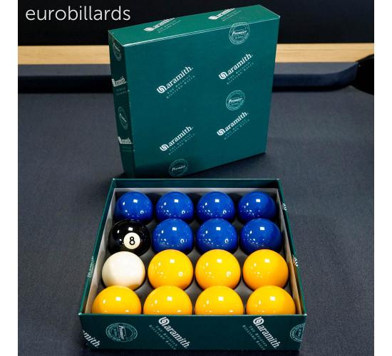 Boîte de billes de billard 8-pool bleu et jaune en 50,8 mm fabriquées en résine phénolique Aramith et vendue par eurobillards