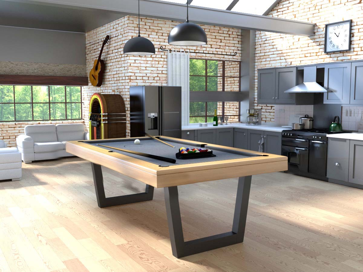 Billard harmony v inox transformable en table eurobillards - Salle a manger billard ...