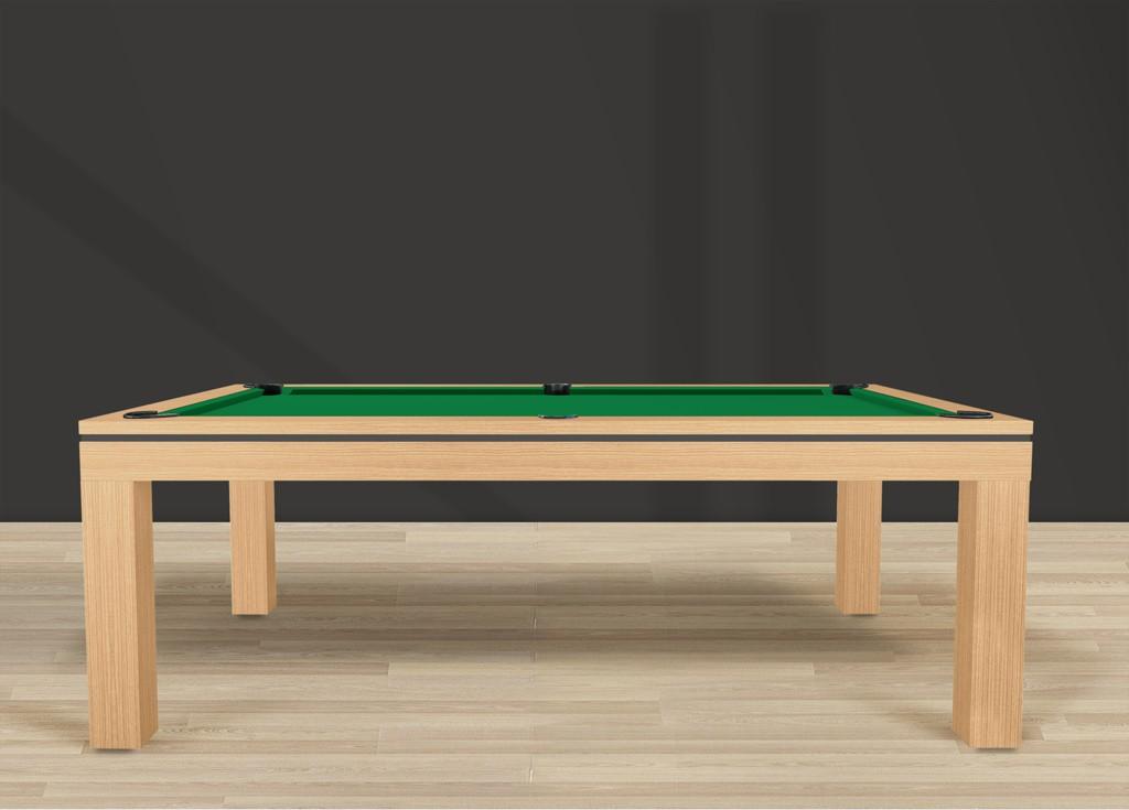 Table billard contemporaine NOVEA, finition chêne doré veiné avec liseré gris ardoise et tapis vert jaune
