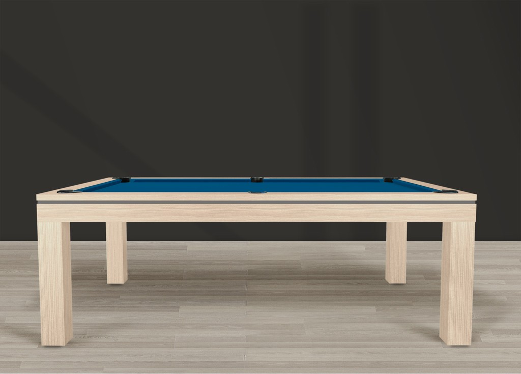 Billard contemporain NOVEA finition chêne éclairci veiné, liseré gris ardoise, tapis bleu électrique