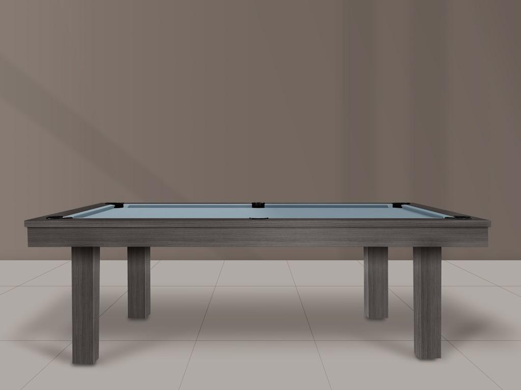 Billard américain ou 8-pool, modèle FEELING en finition bois foncé et tapis bleu poudre