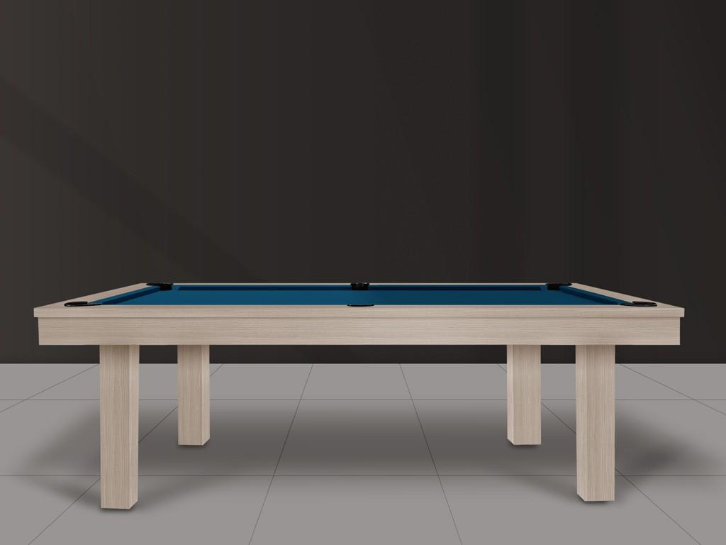 Table de billard FEELING, finition chêne nature, tissu bleu électrique