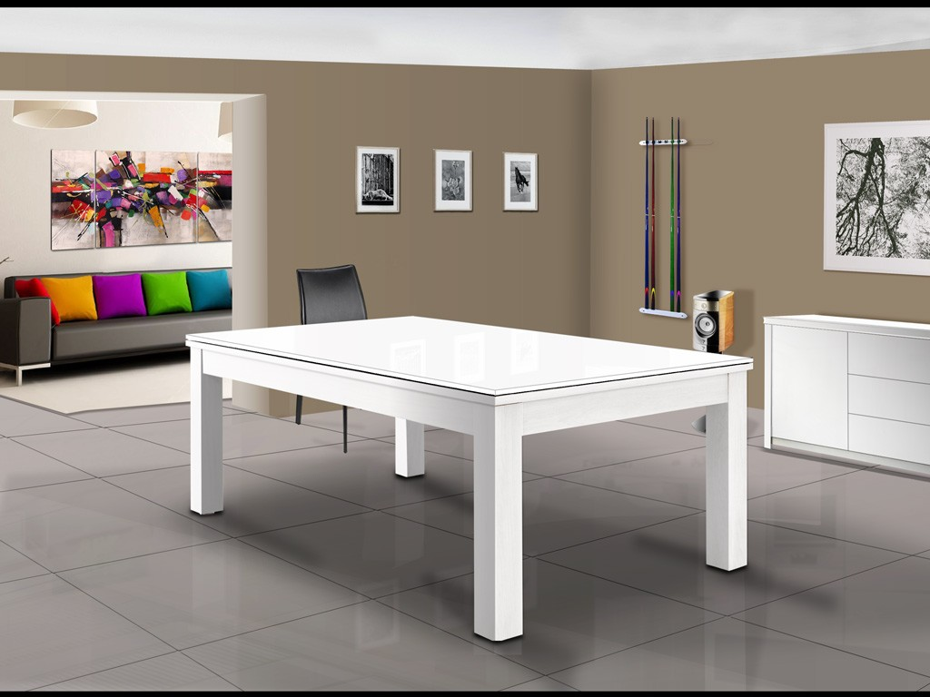 Billard moderne blanc brillant TRENDY convertible en table de salle à manger. Buffet TRENDY assorti