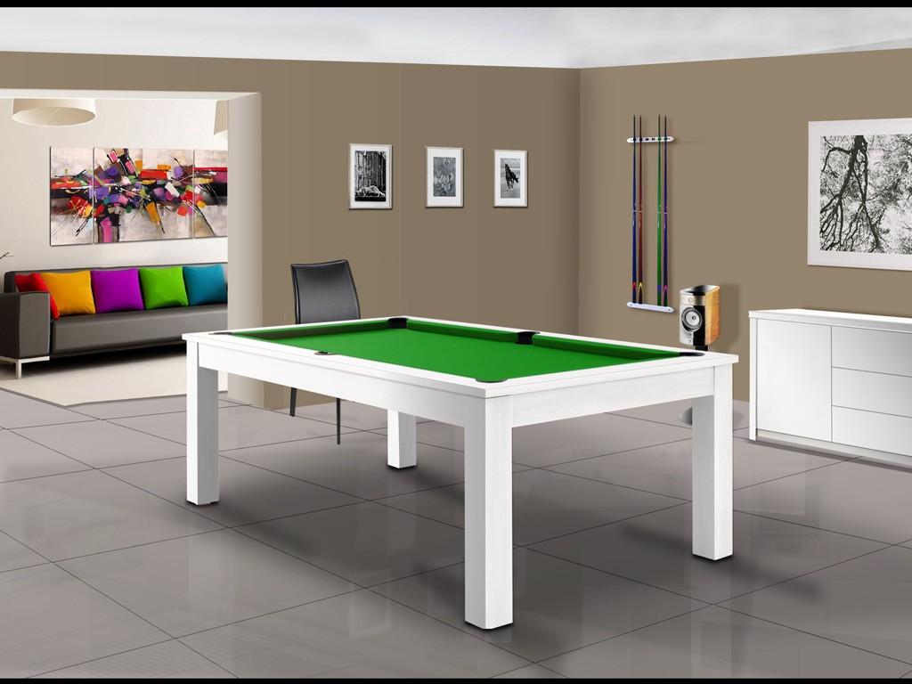 Billard TRENDY américain ou pool, au design moderne blanc polaire brillant et tapis vert pomme