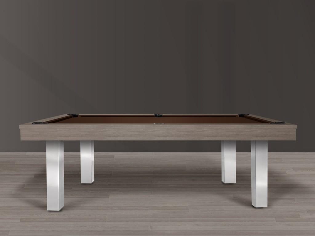 Billard table design FEELING, cadre finition chêne cendré et pieds métal brossé. Tapis de billard chocolat