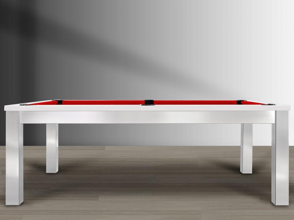 Billard design TRENDY, finition métal brossé et cadre blanc polaire brillant. Drap de billard rouge