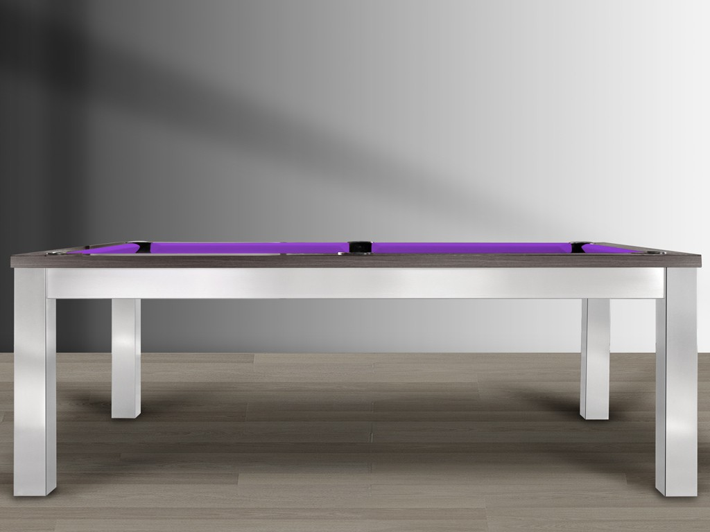 Billard américain TRENDY au design métal brossé et cadre bois foncé. Tapis violet