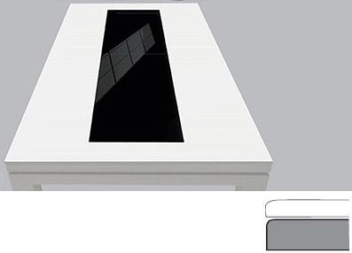 plateau de table transformable en billard blanc laqué avec milieu en verre teinté noir