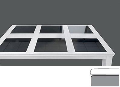 plateau de table pour billard en verre et blanc laqué